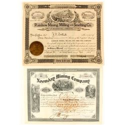 Two Oregon Mining Stock Certificates: Noonday and Rainbow