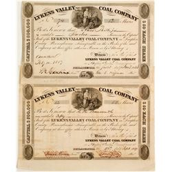 Two Lykens Valley Coal Company Stock - 1837!