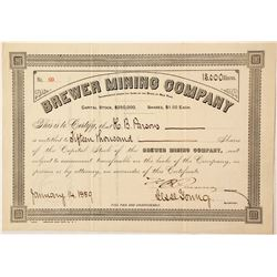 Brewer Mining Company Stock Certificate