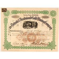 Detroit & Deadwood Gold Mining Co. Stock Certificate, 1898