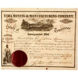 Etna Mining & Manufacturing Company Stock Certificate
