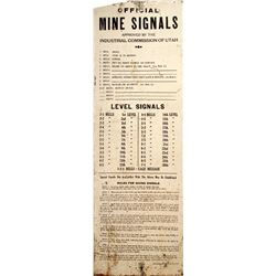 Utah Mine Bell Signal Sign, Tin