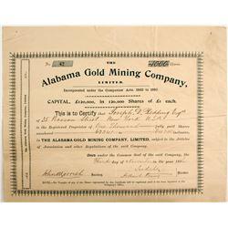 Alabama Gold Mining Company Stock - English Cert