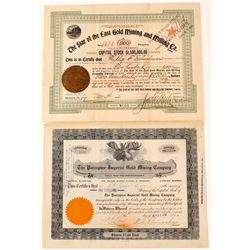 Two Canadian Gold Mining Stock Certificates