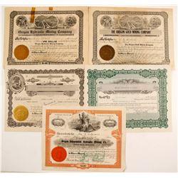Five Oregon & Washington Mining stock certificates