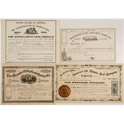 Four Coal Mining Stock Certificates