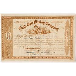 Gold Belt Mining Company Gold Rush Era Stock Certificate