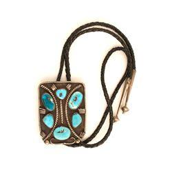 Native American Silver & Turquoise Bolo Tie