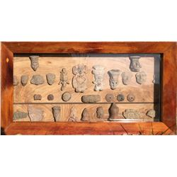 Framed Collection of Clay Sculptures