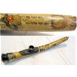 Oriental Bone Incense  Burner, Engraved Antique