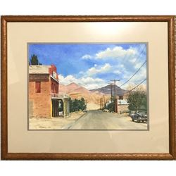 Jeff Nicholson 1984 watercolor of Dayton, Nevada