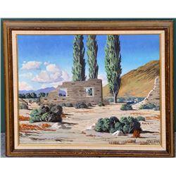 George Carter Painting (2) with Original Magazine of San Antonio Station