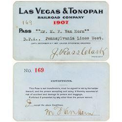 Las Vegas & Tonopah Railroad 1907 Pass