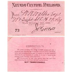 Nevada Central Railroad 1881 Pass
