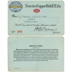 Nevada Copper Belt Railroad 1910 Pass