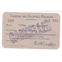 Tonopah & Goldfield Railroad 1929 Pass