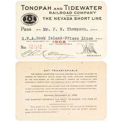 Tonopah & Tidewater Railroad 1908 Pass