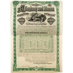 Allegheny and Kinzua Railroad Co Gold Bond