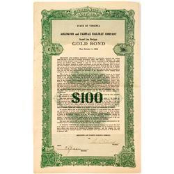Arlington & Fairfax Railway Co. 25-Year Gold Bond
