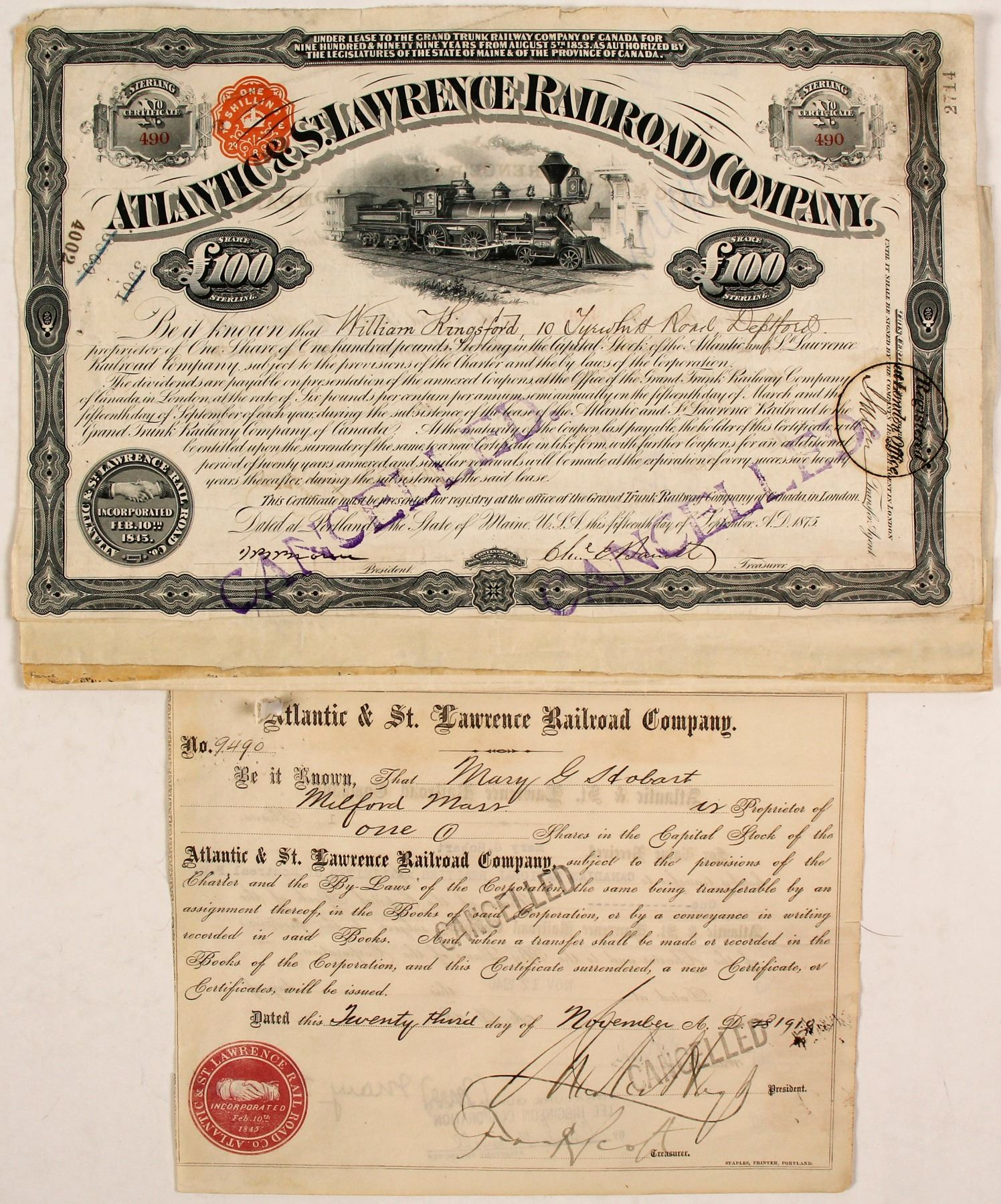 The Atlantic Quebec /& Western Railway Company Bond Stock Certificate Railroad