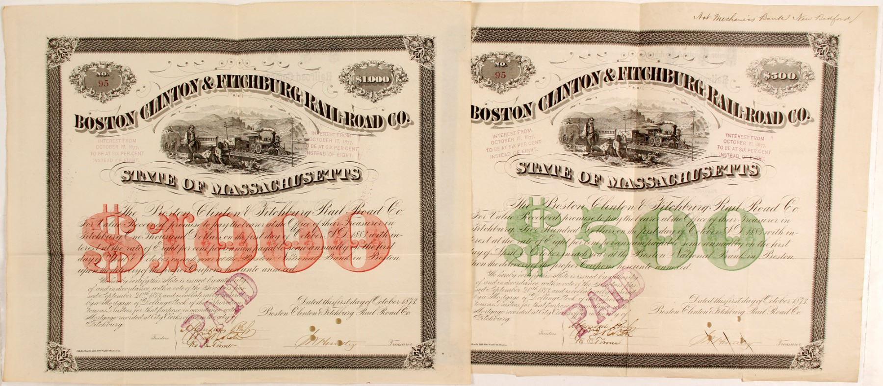 Boston Clinton & Fitchburg Railroad Co bond