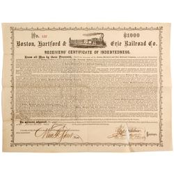 Boston, Haartford & Erie Railroad Co ertificate of Indebtedness Bond ''71 Black