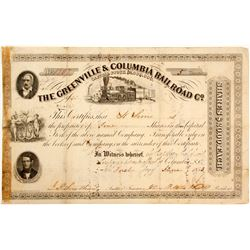 Greenville & Columbia Railroad Stock