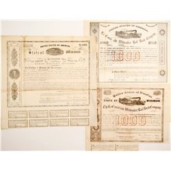 La Crosse and Milwaukee Rail Road Bonds, 3 Different