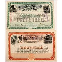 Lehigh and New York Railroad Stocks (2)