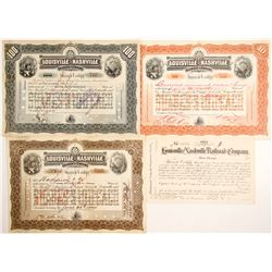 Louisville and Nashville Railroad Stocks, 3 Different