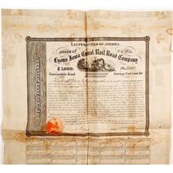 Lyons Iowa Central Railroad Bond