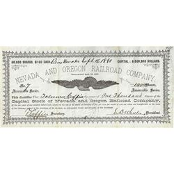 Nevada and Oregon Railroad Company Stock Certificate - Worth Dying Over?