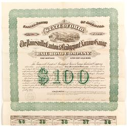 Painesville, Canton & Bridgeport Narrow Gauge Railroad Bond