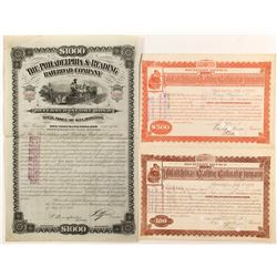 Philadelphia and Reading Railroad Stock Receiver Notes and Bond (3)