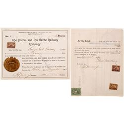 Potosi and Rio Verde Railway Stock with George Peabody Sig