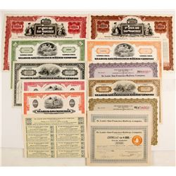 St. Louis-San Francisco Railway Bonds and Stocks, 6 Different, 12 Total