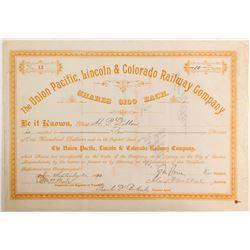 Union Pacific, Lincoln & Colorado Railway Stock