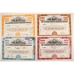 Western Pacific Railroad Stocks, 4 Different