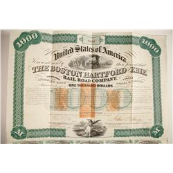Boston Hartford & Erie RR $1000 bond, 1867