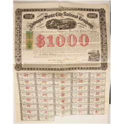 Dubuque and Sioux City RR $1000 Bond with RN overprints