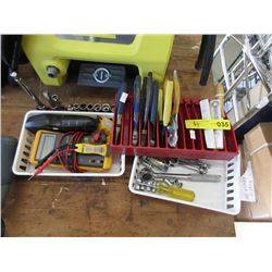 Tote of Ratchet Sockets, Pliers & More