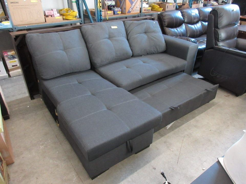 Upholstered Sofa Bed with Storage in Chaise End