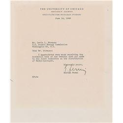 Enrico Fermi Typed Letter Signed
