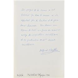 Alfred Kastler Autograph Manuscript Signed