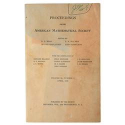 John Nash Signed American Mathematical Society Journal