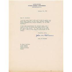 John von Neumann Typed Letter Signed