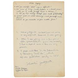 Hideki Yukawa Autograph Manuscript Signed