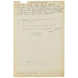 Alexander Fleming Autograph Manuscript Signed