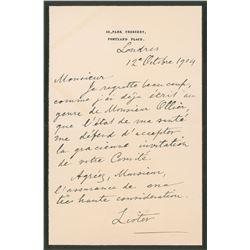 Joseph Lister Autograph Letter Signed