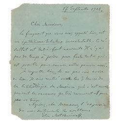 Elie Metchnikoff Autograph Letter Signed